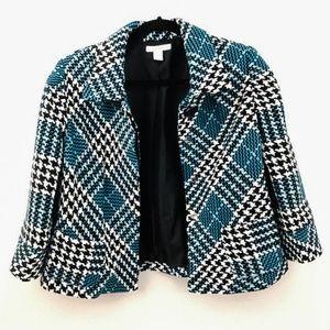 Dressbarn Blue Black White Houndstooth Jacket
